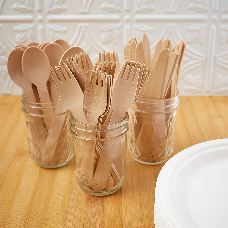 Amazon.com: Juego de cubiertos de madera de abedul ...