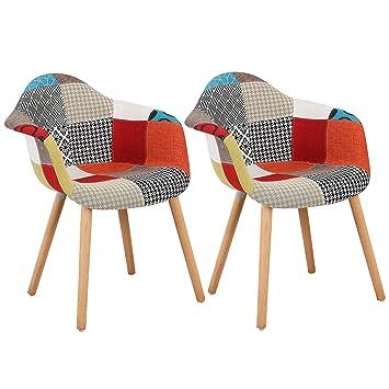 WOLTU BH37mf 2 Esszimmerstühle 2er Set Esszimmerstuhl Mit Lehne Design Stuhl  Küchenstuhl Holz