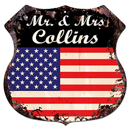 MRS COLLINS Family Name Chic Sign Vintage Retro Rustic 11.5u0026quot;