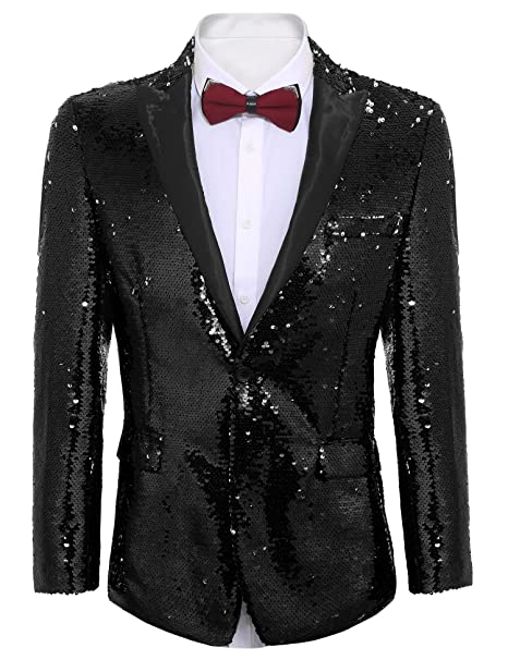COOFANDY Mens Shiny Sequins Suit Jacket Blazer One Button Tuxedo for Party,Wedding,Banquet,Prom