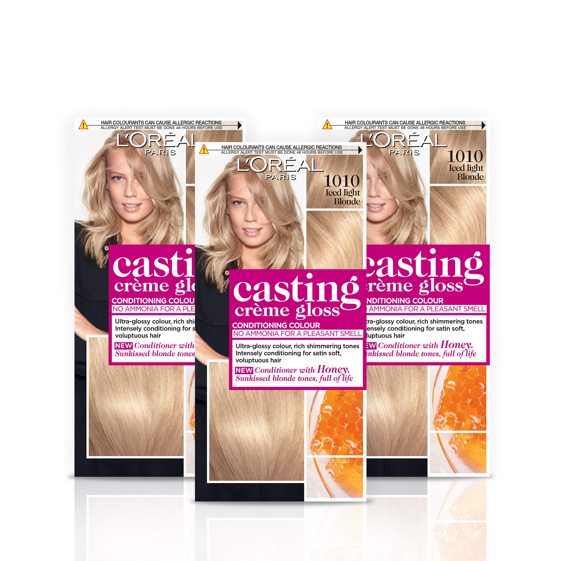 L'Oréal Paris Casting Crème Gloss Semi-Permanent Hair Dye, Ammonia-Free Formula & Honey-Infused Conditioner, Glossy Finish, Colour for Up to 28 Shampoos, Pack of 3, Colour: 1010 Light Iced Blonde