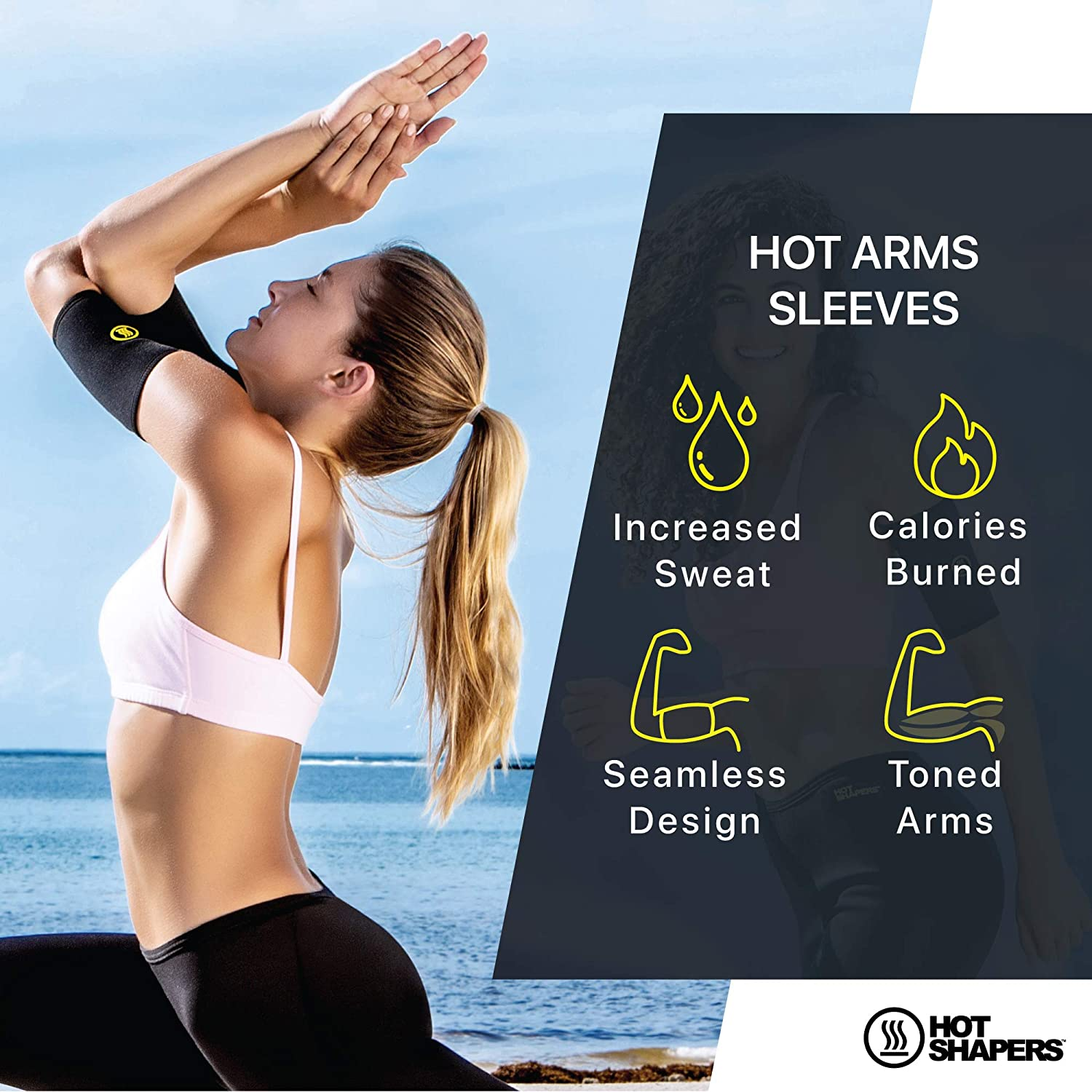 ea184eb4b8c Amazon.com   Hot Shapers Hot Arms Sleeves - Seamless Arm Trimmers with Phone  Pocket for Running   Sports   Outdoors
