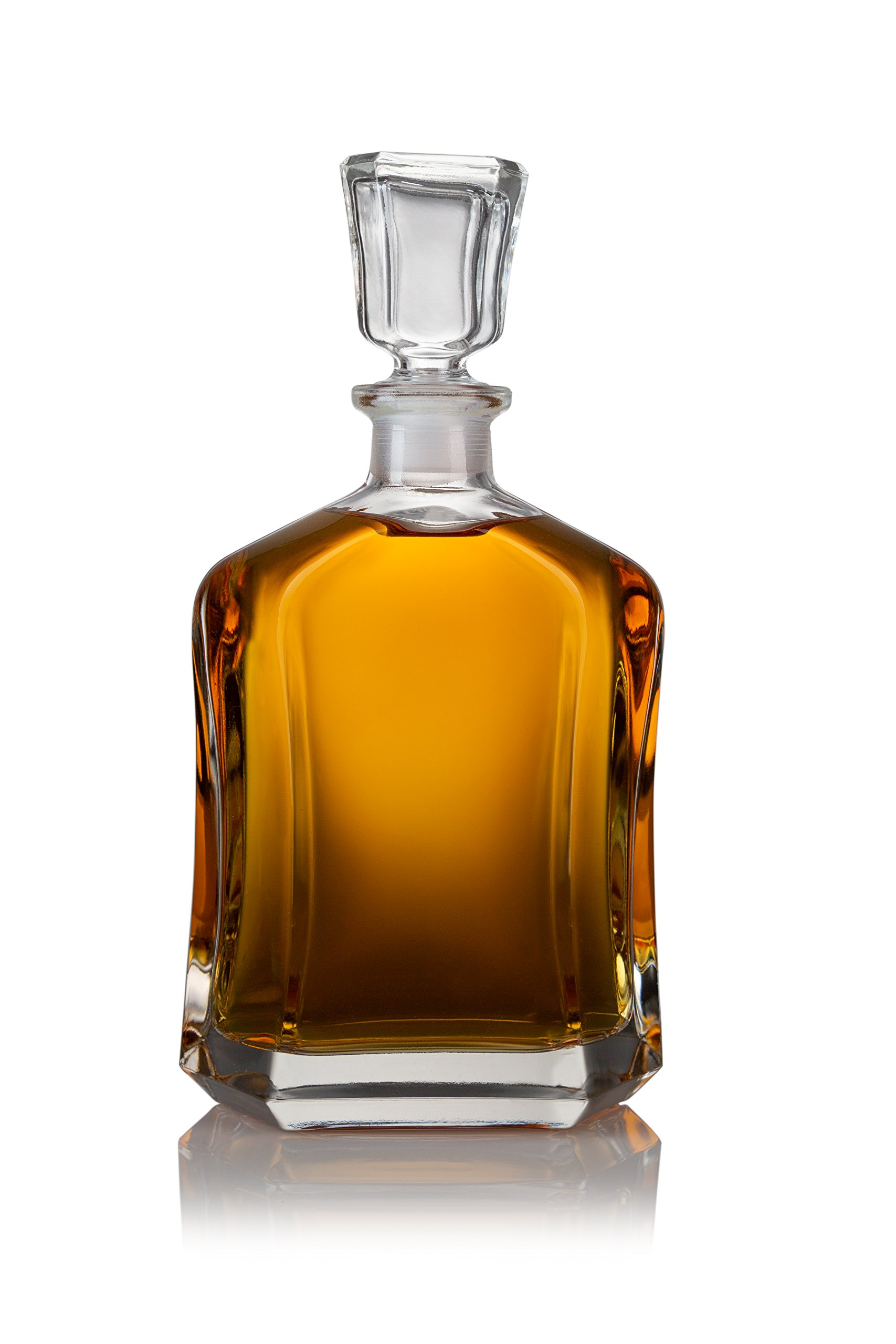James Scott European Made Capitol Glass Decanter with Airtight Symmetrical Stopper - Whiskey Decanter for Wine, Bourbon, Brandy, Liquor, Juice, Water, Mouthwash   23.75 oz