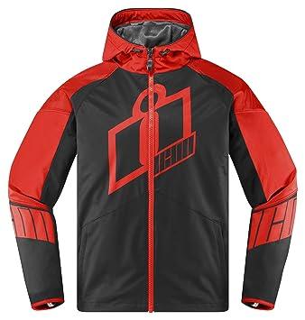 Icon Merc Crusader - Chaqueta para motocicleta, color rojo y negro: Amazon.es: Coche y moto