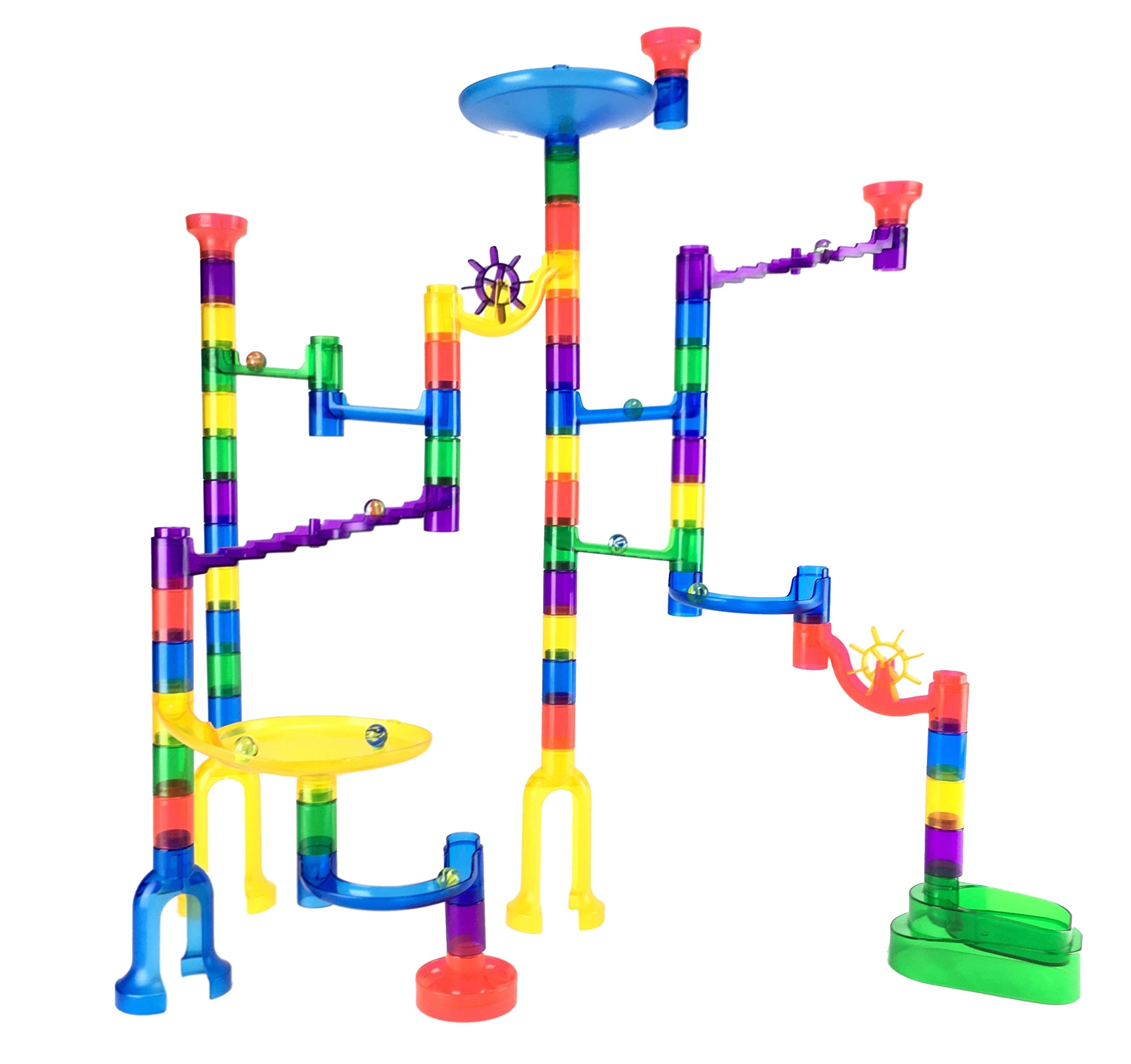 Marble Genius Marble Run Starter Set - 70 Complete Pieces + Free Instruction App (60 Translucent Marbulous Pieces + 10 Glass Marbles)