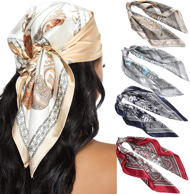 Sruiluo Women Headwear Bandana Scarf Square White Floral Print Elastic Head Scarf