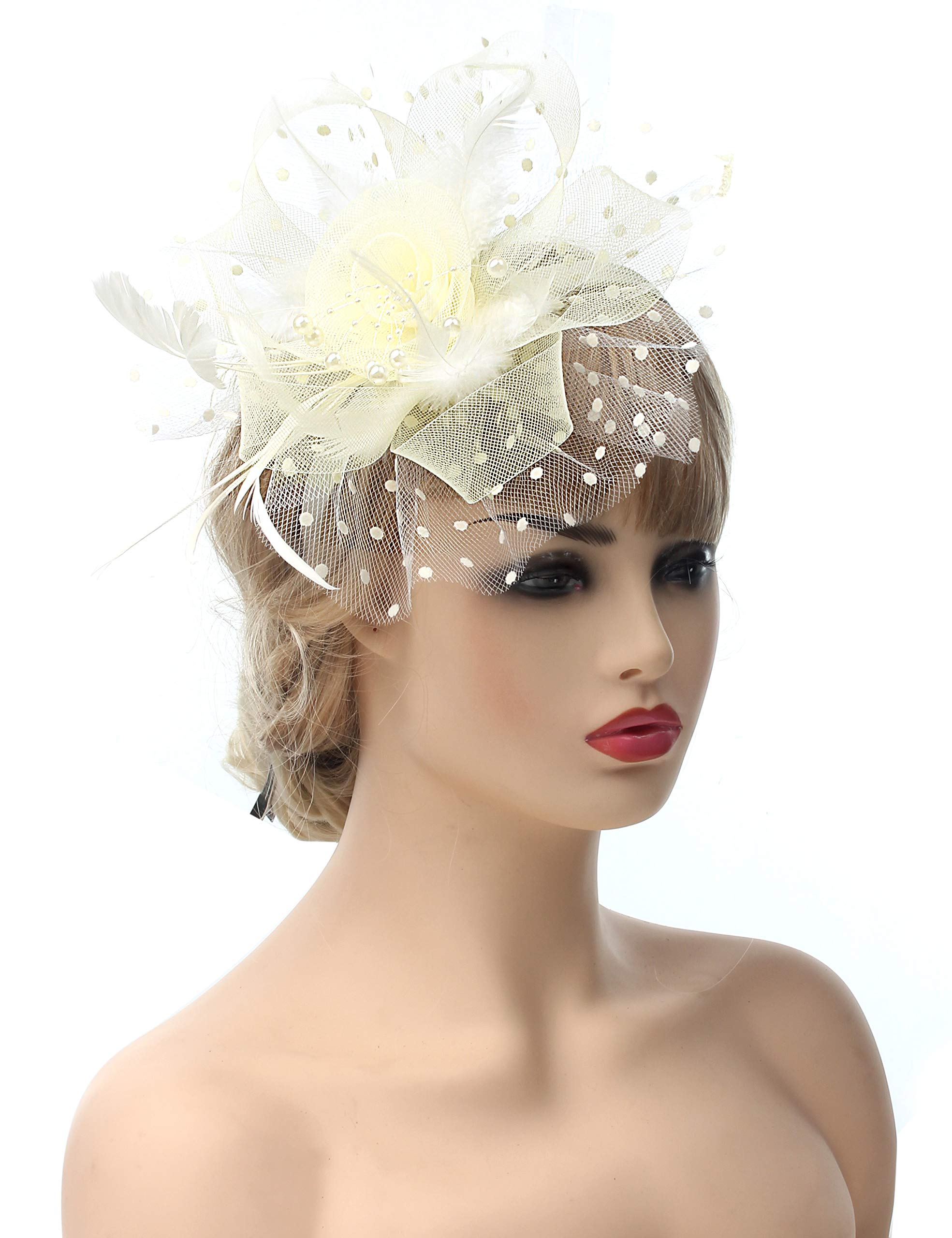 Myjoyday Fascinators Hat for Women Tea Party Headband Kentucky Derby Wedding Cocktail Flower Mesh Feathers Hair Clip (Beige-2)