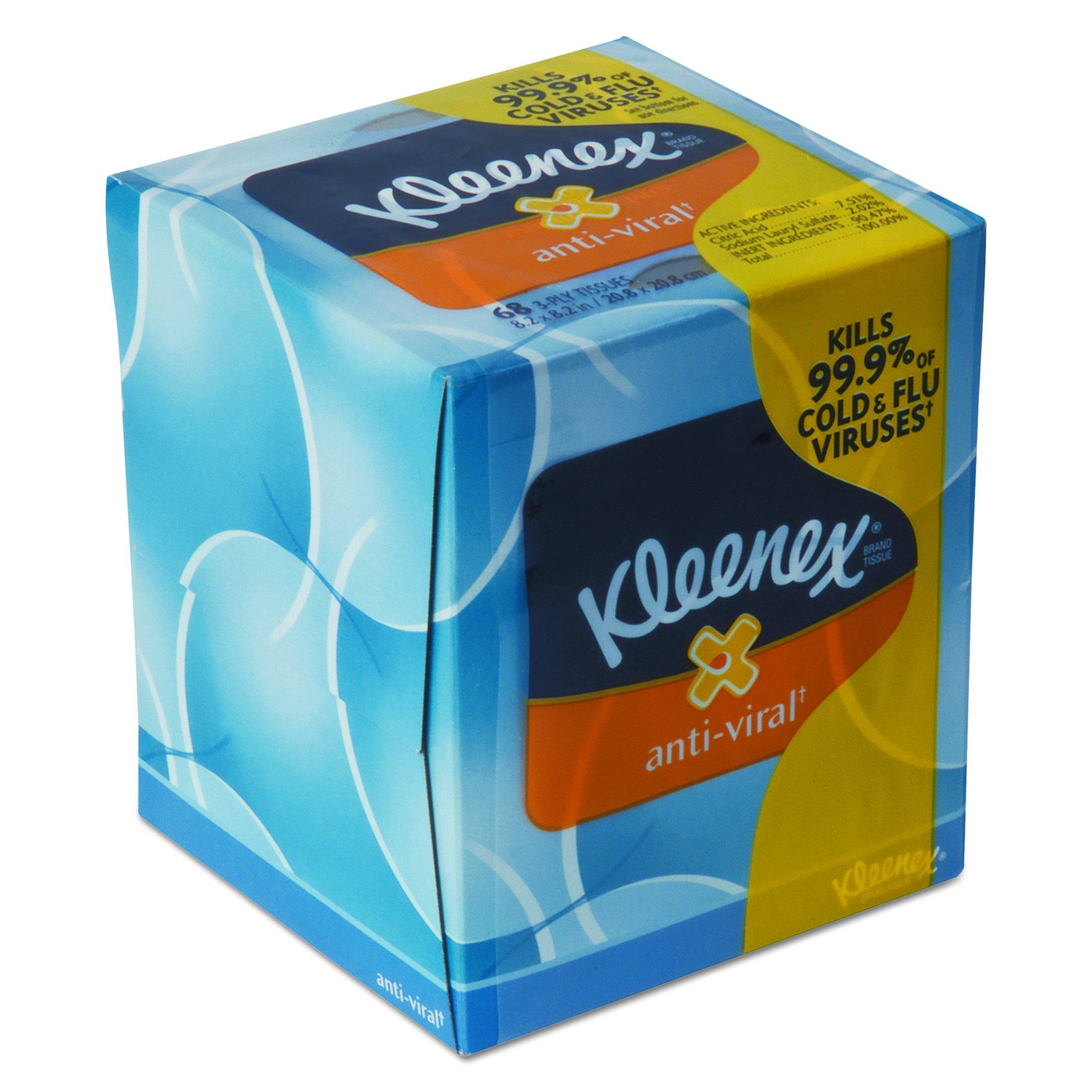Kleenex Scott 37303CT Anti-Viral Facial Tissue, 3-Ply, 68 Sheets per Box, White (Pack of 27)