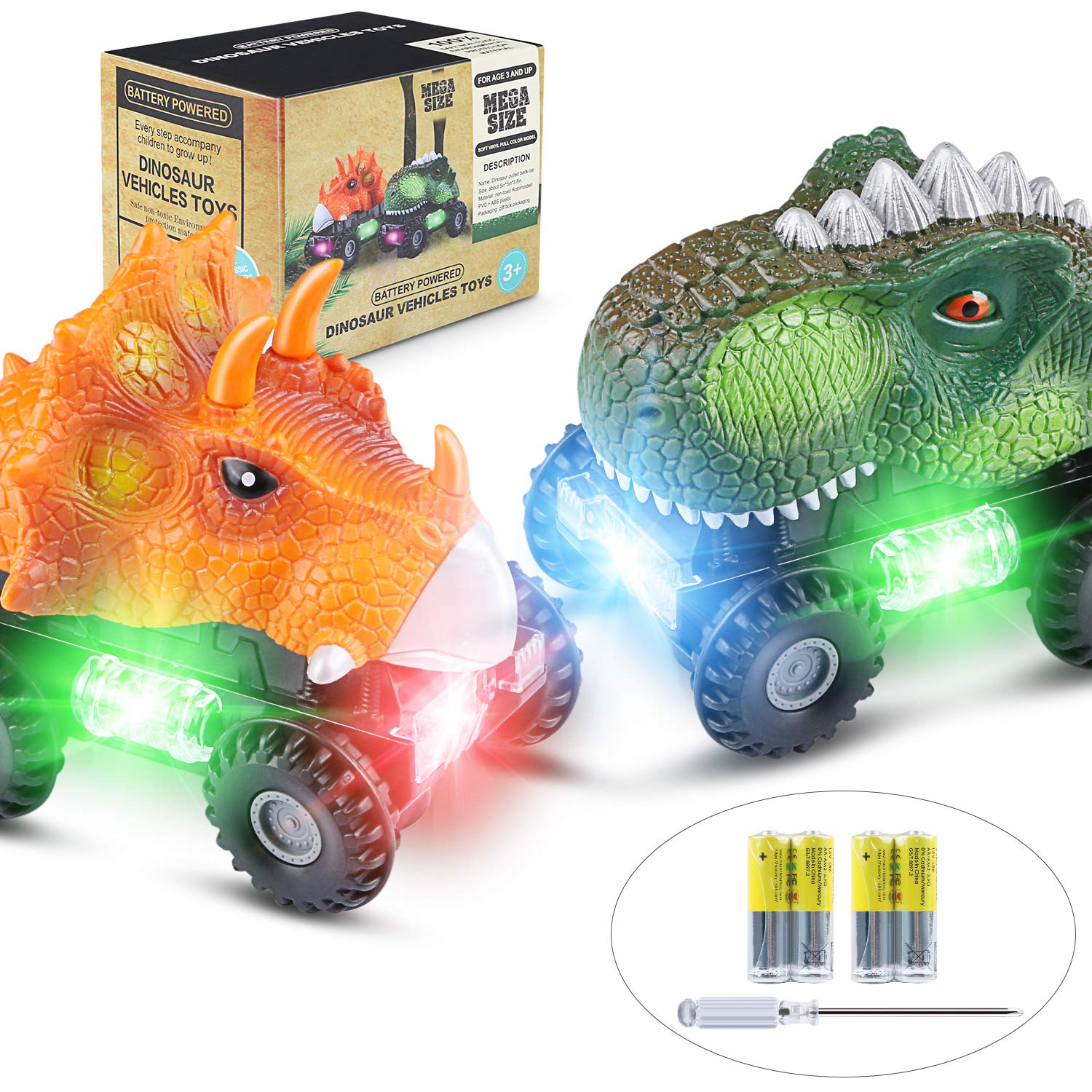 Dinosaur Cars, 2 Pack Dinosaur Vehicles Set Cars with LED Light Sound Dinosaur Toys for Boys Toddlers Girls Kids Gifts