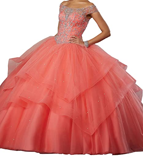 c7f38a0094f PuTao Women s Illusion Neckline Beaded Princess Lady Prom Sweet 15  Quinceanera Dresses 0 US Coral