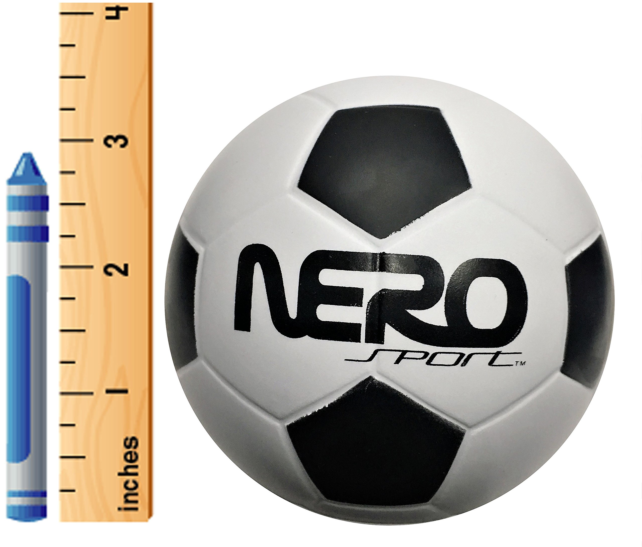 Nero NS200 High Bounce Rubber Toy Ball 3.5'' Soccer Futbol Training Style Great For Streets Park Back Yard Agility Ball Bulk Price Gifts (white soccer)