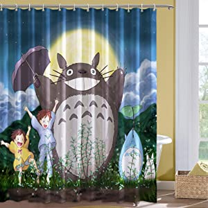 Anime Fabric Shower Curtain Cat and Tots Shower Curtain Set with 12 Hooks for Bathroom Decor