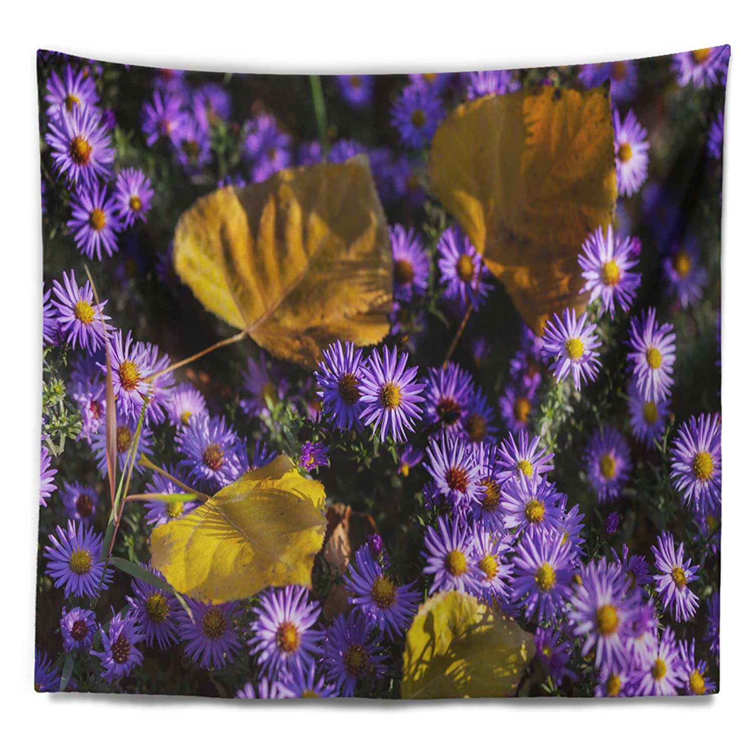 Created On Lightweight Polyester Fabric Designart TAP12592-39-32  Little Purple Flowers and Yellow Leaves Floral Blanket D/écor Art for Home and Office Wall Tapestry Medium x 32 in 39 in