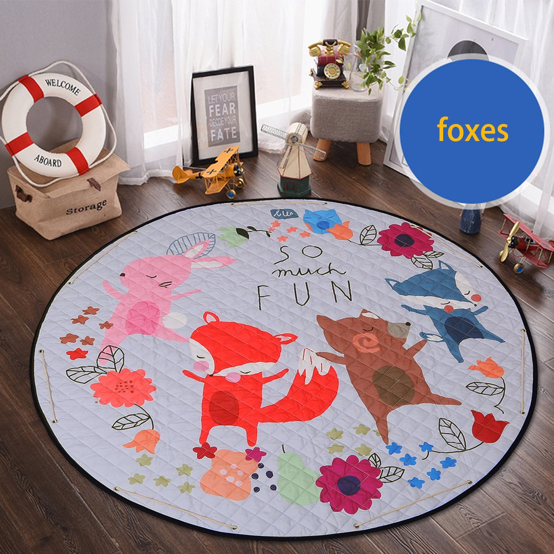 Round Kids Rug,Toys Storage Organizer,Nursery Rugs Large Cotton Anti-slip Cartoon Animal Baby Floor Mat Game Mat Area with Drawstring for Kids Room Living Room, 59x59 Inch (Foxes) by okdeals