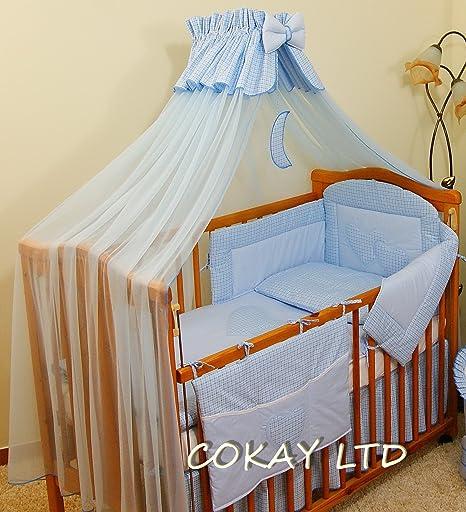 LUXURY 10 pcs BABY BEDDING SET //BUMPER//canopy DRAPE//HOLDER 4 COT 140 x 70 cm
