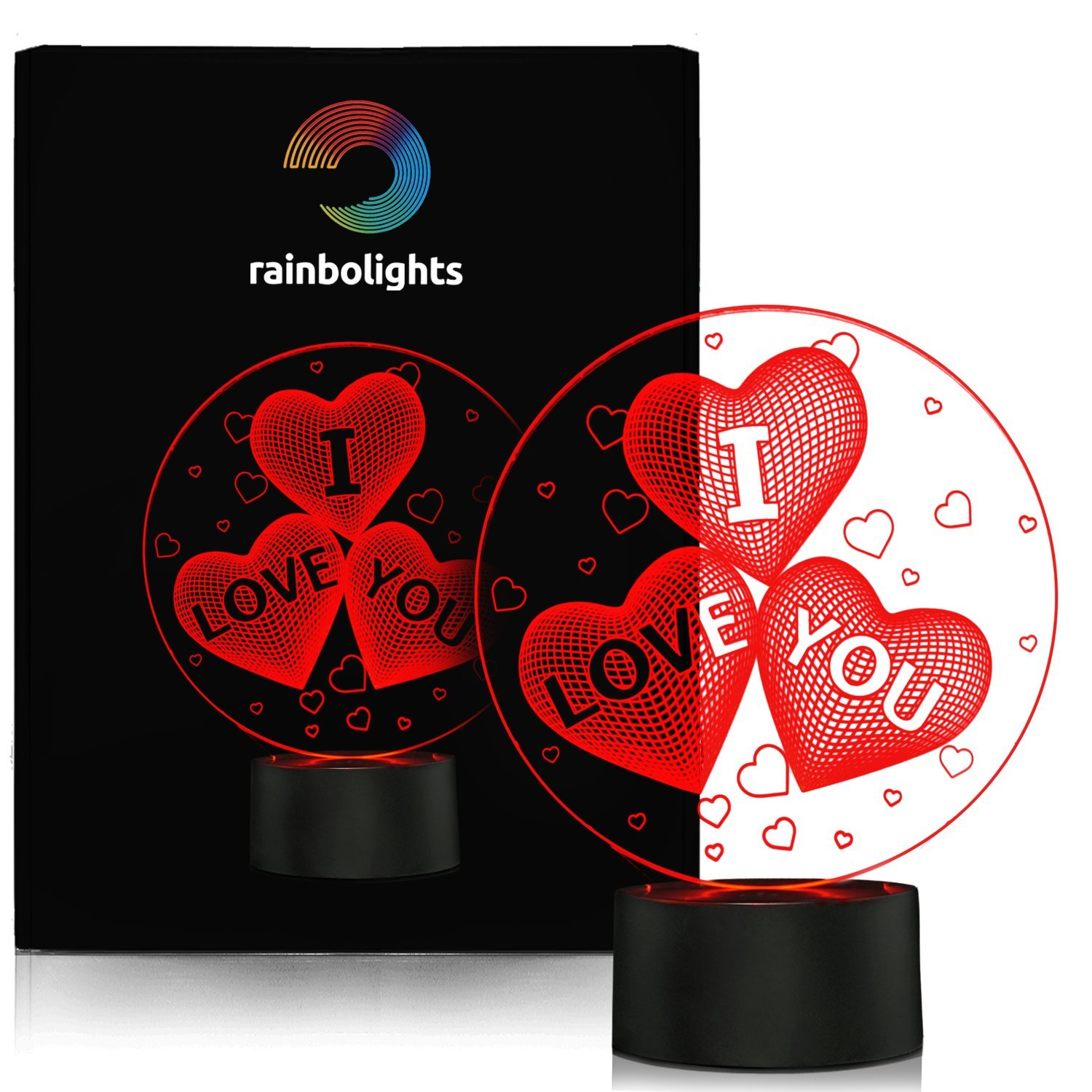 I LOVE YOU GIFT 3D Illusion Night Light 7 COLOR A Great ANNIVERSARY GIFT Idea or a UNIQUE Way to tell someone HOW MUCH YOU LOVE THEM PERFECT For VALENTINES DAY comes with MAINS plug and USB cable