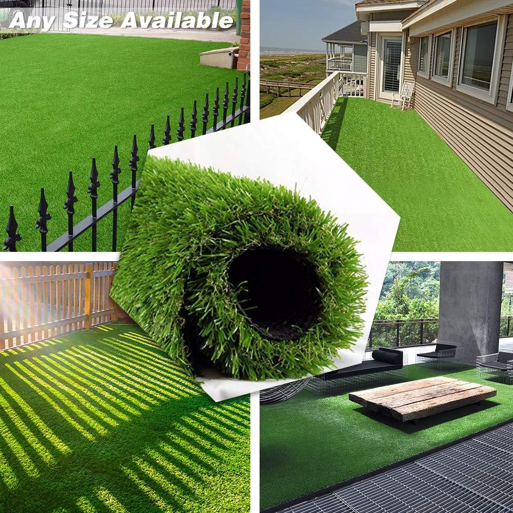 Artificial Grass Turf 3FTX15FT, 70 oz Face Weight,Drainage Holes & Rubber Backing, Indoor Outdoor Pet Faux Grass Astro Rug Carpet Backdrop for Garden Backyard Patio Balcony