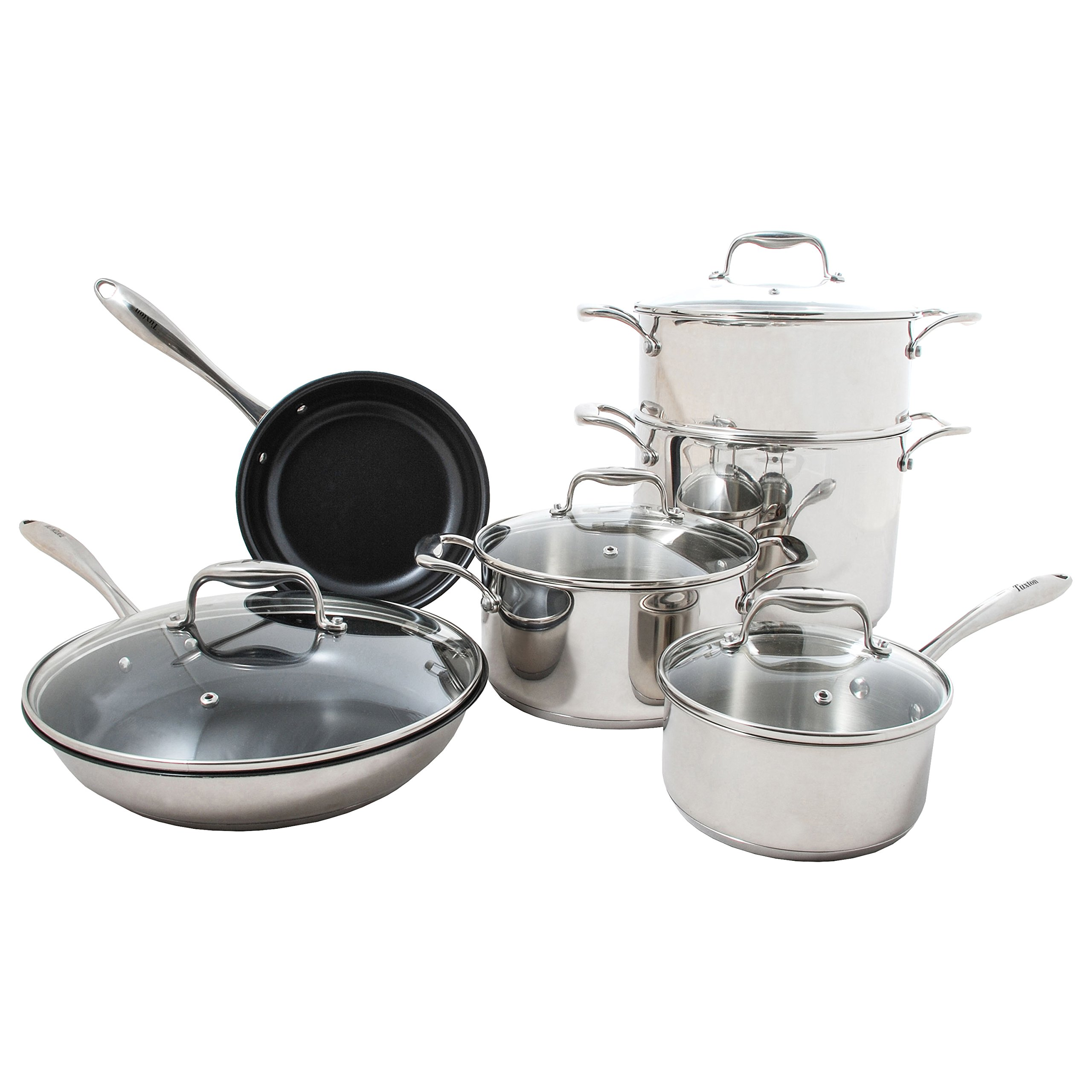 Tuxton Home Concentrix Housewarming 10PC Cookware Set; Stainless Steel, PFTE & PFOA Free, Dishwasher and Oven Safe; Covered Casserole, Stockpot, Steamer Insert, Two Frypans, and Covered Saucepan