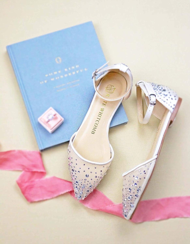 "3476f7e91f57f6 Amazon.com  Bridal Flat Wedding Shoes Women s Ivory Satin – Kate Whitcomb  Shoes style ""Elle""  Handmade"