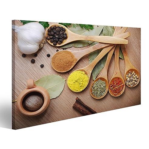 Bild Bilder Auf Leinwand Verschiedene Gewürze Holzlöffel Küche