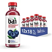 Flavored Water, Brasilia Blueberry, Antioxidant Infused Drinks, 18 Fluid Ounce Bottles, 1 Pack of 12