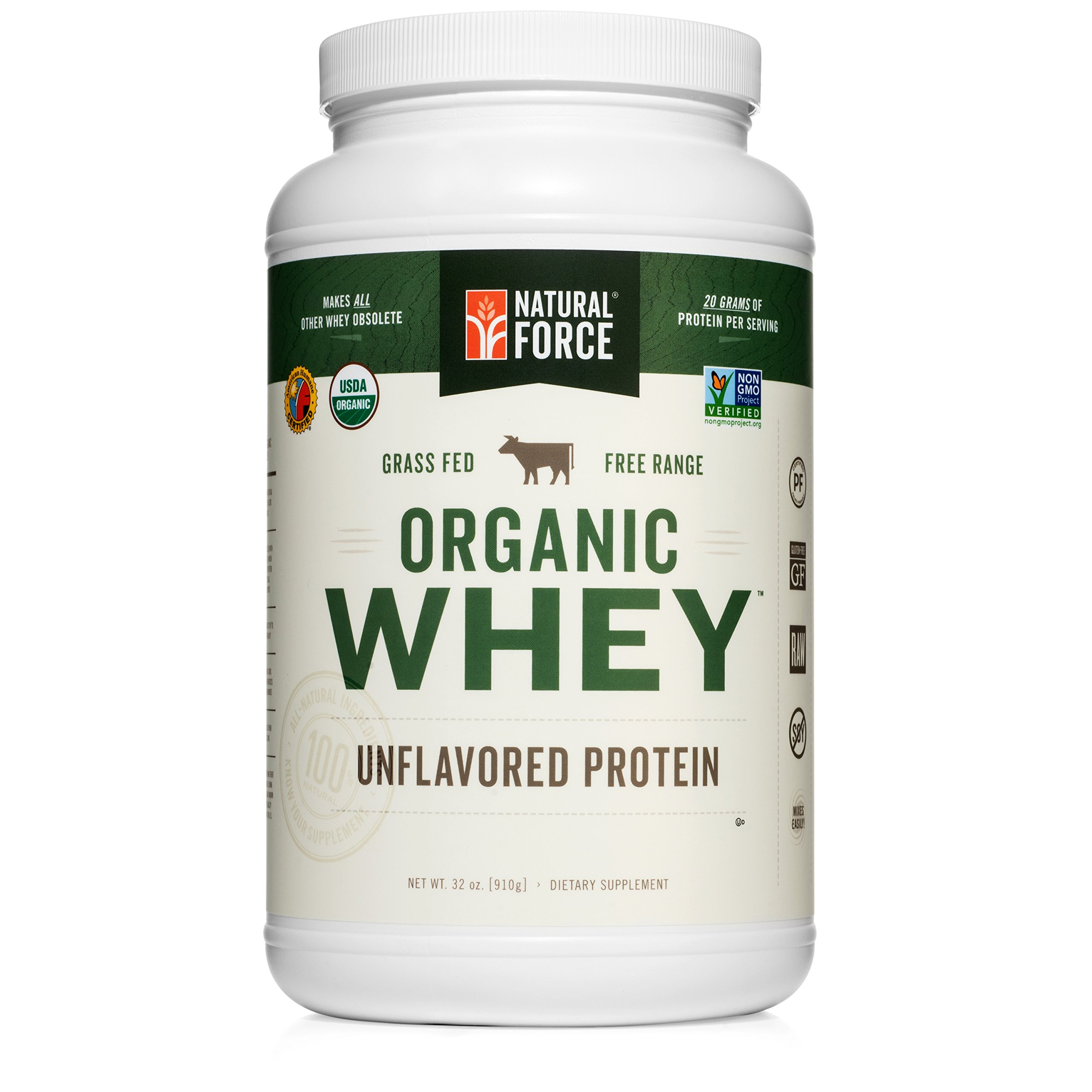 Natural Force® Undenatured Organic Whey Protein Powder *UNFLAVORED* Grass Fed Whey from California Farms – Raw Organic Whey, Paleo, Gluten Free, Natural Whey Protein, 32 oz. Bulk