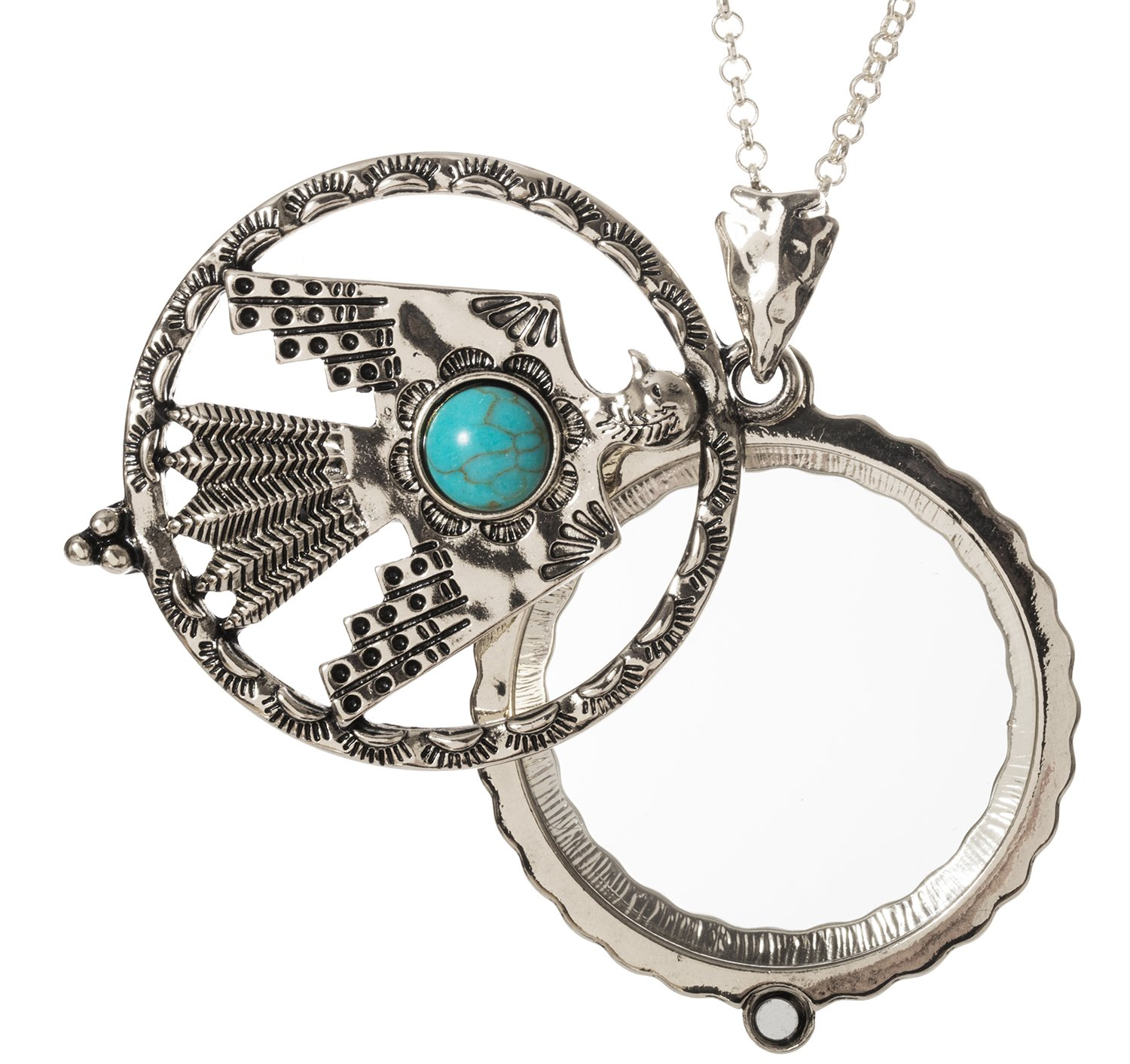 Thunderbird Turquoise Stone 4x Magnifier Magnifying Glass Sliding Top Magnet Pendant Necklace, 30'' (Silver Tone)