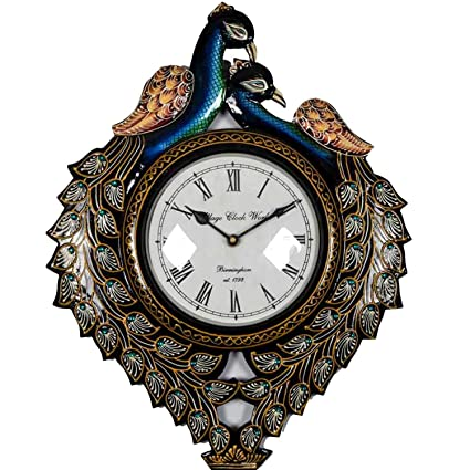 Home Decorative Items   Special Dealz Handicraft Gifts Wooden Multicolor Peacock Design Wall Clock (Product Dimensions: (inches) 13 x 1 x 16)