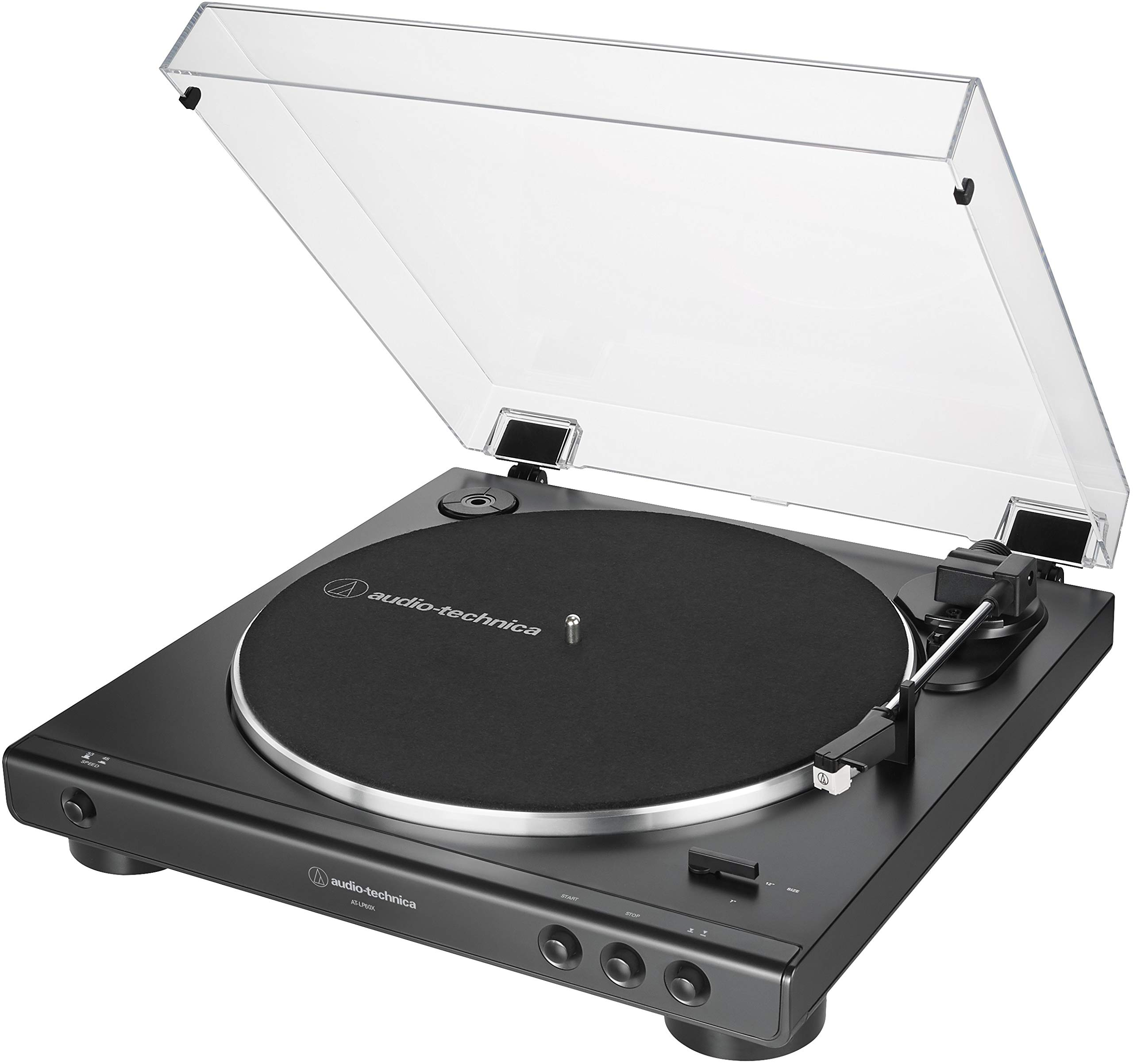 Audio-Technica AT-LP60X-BK Fully Automatic Belt-Drive Stereo Turntable, Black, Hi-Fidelity, Plays 33 -1/3 and 45 RPM Vinyl Records, Dust Cover, Anti-Resonance, Die-Cast Aluminum Platter by Audio-Technica