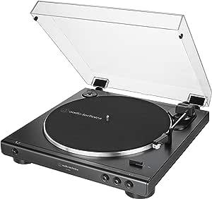 Audio-Technica AT-LP60X-BK Fully Automatic Belt-Drive Stereo Turntable, Black, Hi-Fi, 2 Speed, Dust Cover, Anti-Resonance, Die-Cast Aluminum Platter