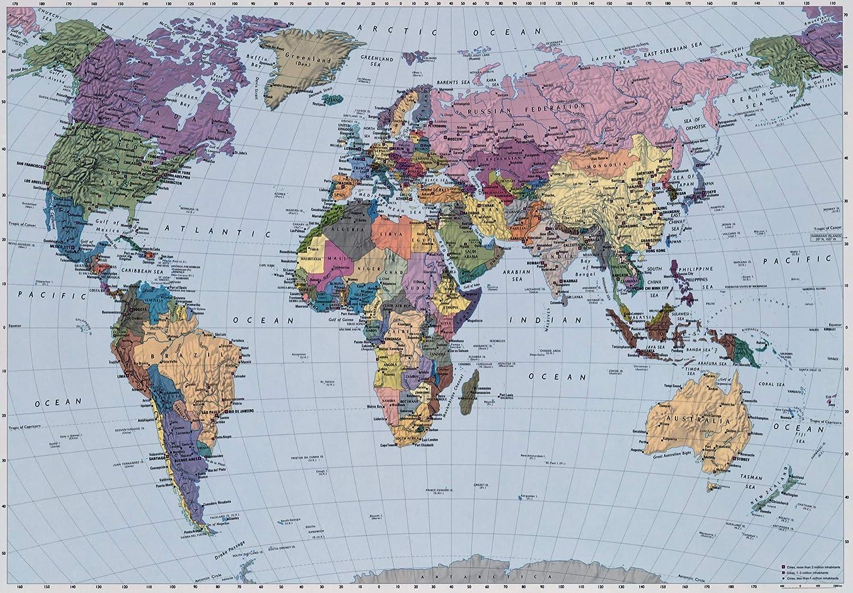 World Map Wallpaper Mural Amazoncouk DIY Tools