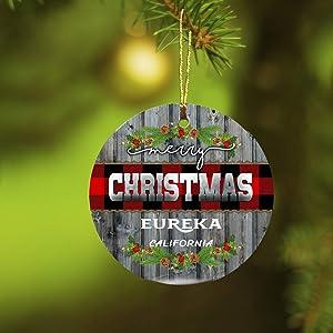 Christmas Ornaments 2019 Merry Christmas Eureka California Xmas Presents Ideas State CA Ornament Rustic Funny Gift New Home Housewarming Keepsake Gift Ceramic 3 inches White