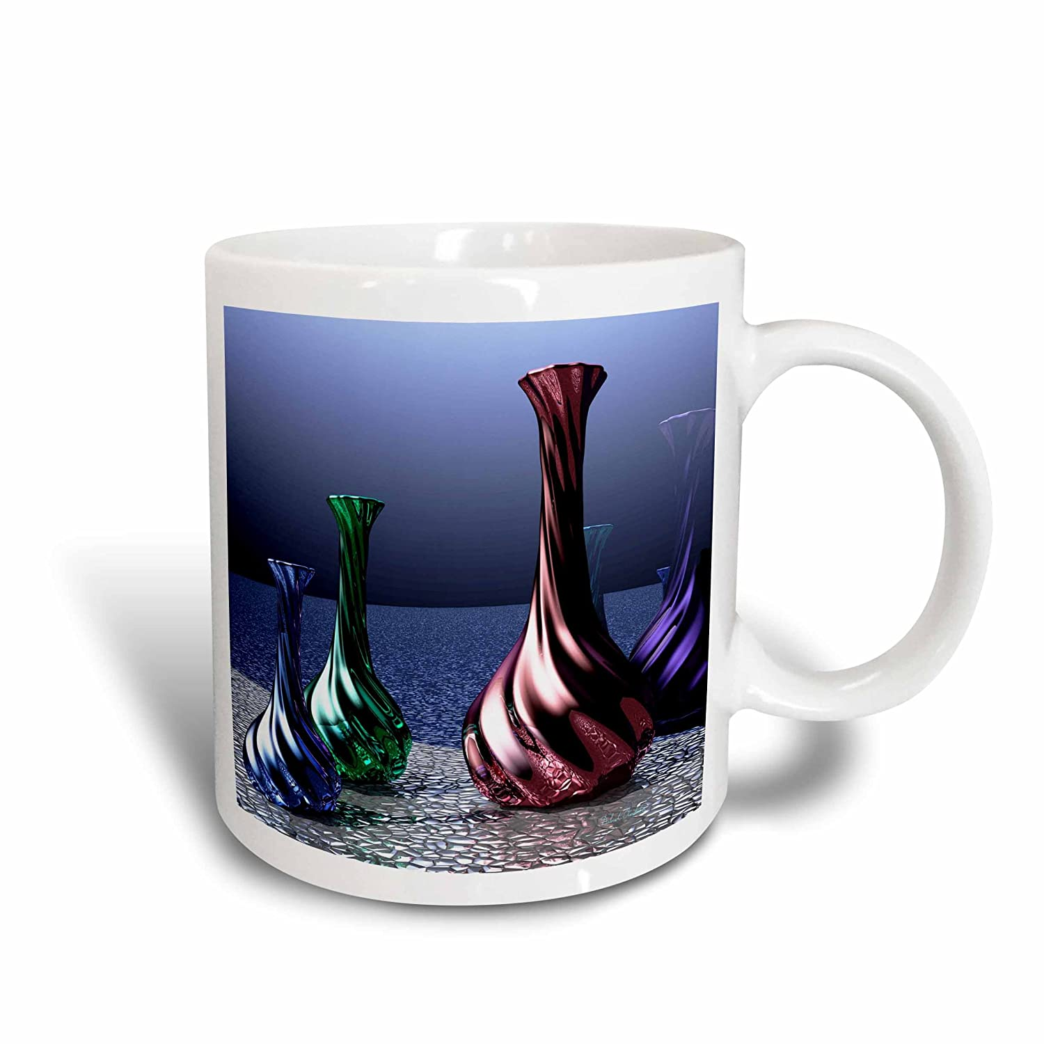 3dRose 11627/_1 Elegant Glass Carafes Shining in hues in Blue Green and red-Ceramic Mug 11 oz Multicolored