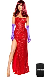 Sexy 2pc Womens Jessica Rabbit Sequin Corset & Long Dress Costume + Coolie
