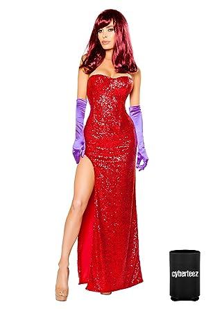 Amazon Sexy 2pc Womens Jessica Rabbit Sequin Corset Long