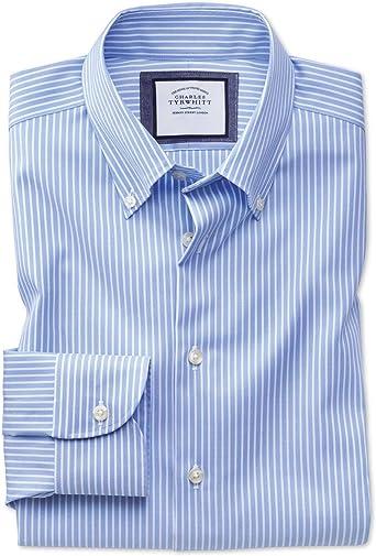 Camisa Business Casual Azul Celeste y Blanca Slim fit sin ...