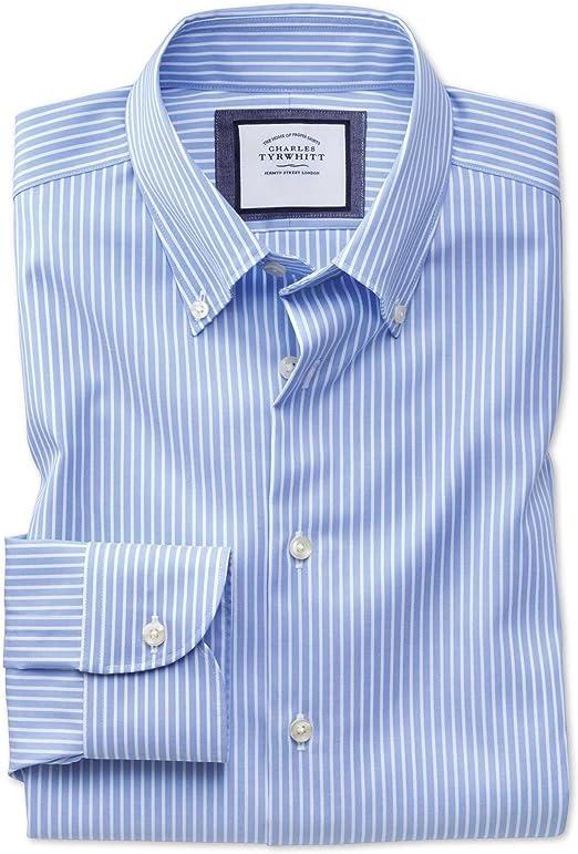 Camisa Business Casual Azul Celeste y Blanca Slim fit sin Plancha a Rayas con Cuello con Botones: Amazon.es: Ropa y accesorios
