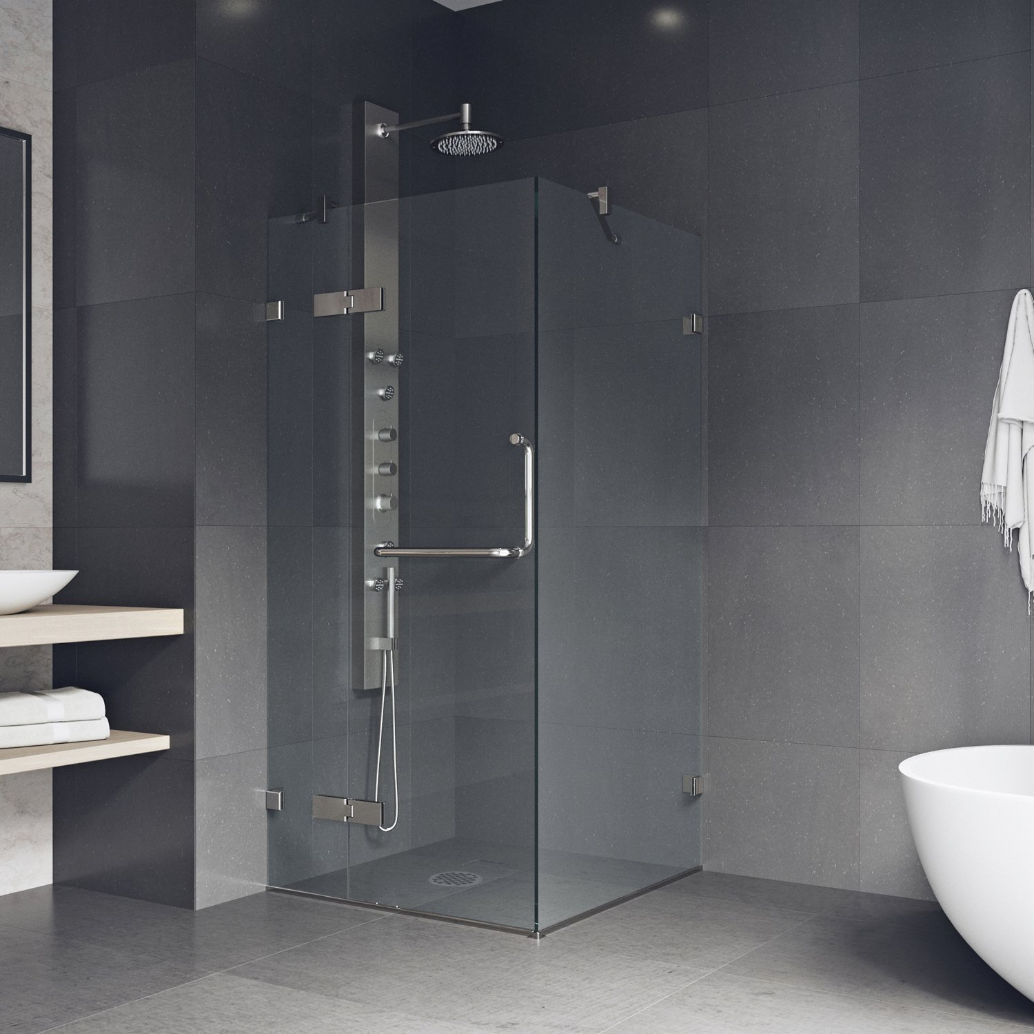 VIGO Monteray 32 x 32-in. Frameless Shower Enclosure with .375-in ...
