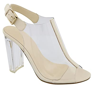 6247c797ece9 Best Nina Beige Acrylic Chunky Sandals Women Sexy Strappy Clear Peep Toe Ankle  Strap Pump Buckle