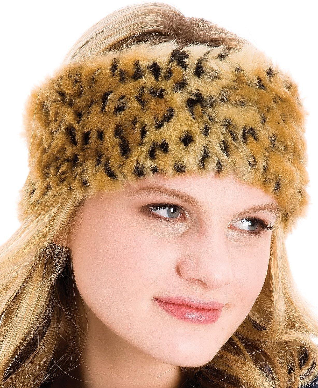 Ladies Luxury Leopard Design Faux Fur Headband / One Size