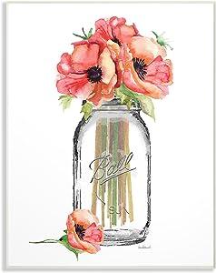 Stupell Industries Mason Jar Poppys Wall Plaque, 10 x 15, Design by Artist Amanda Greenwood