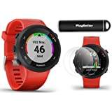 Garmin Forerunner 45 (Lava Red) Running GPS Watch Power Bundle | +HD Screen Protectors & PlayBetter Portable Charger | Garmin Coach, Lightweight, Heart Rate, Body Battery, Smart Notifications