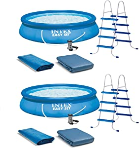 "Intex 15' x 48"" Inflatable Above Ground Swimming Pool, Ladder And Pump (2 Pack)"