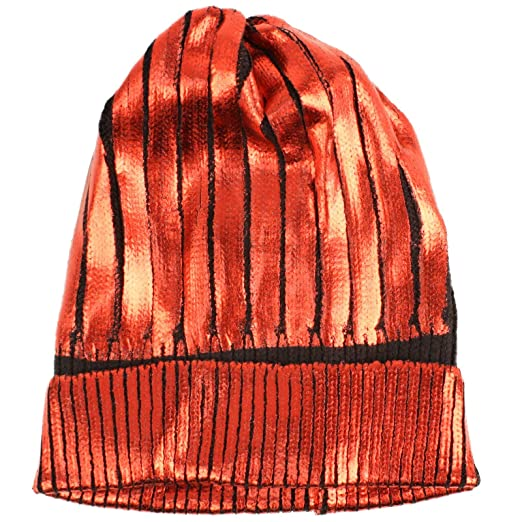 Amazon.com  Winter Metallic Shiny Chunky Thick Knit Party Beanie Skull Ski Hat  Cap Red  Clothing 09c490b1a26