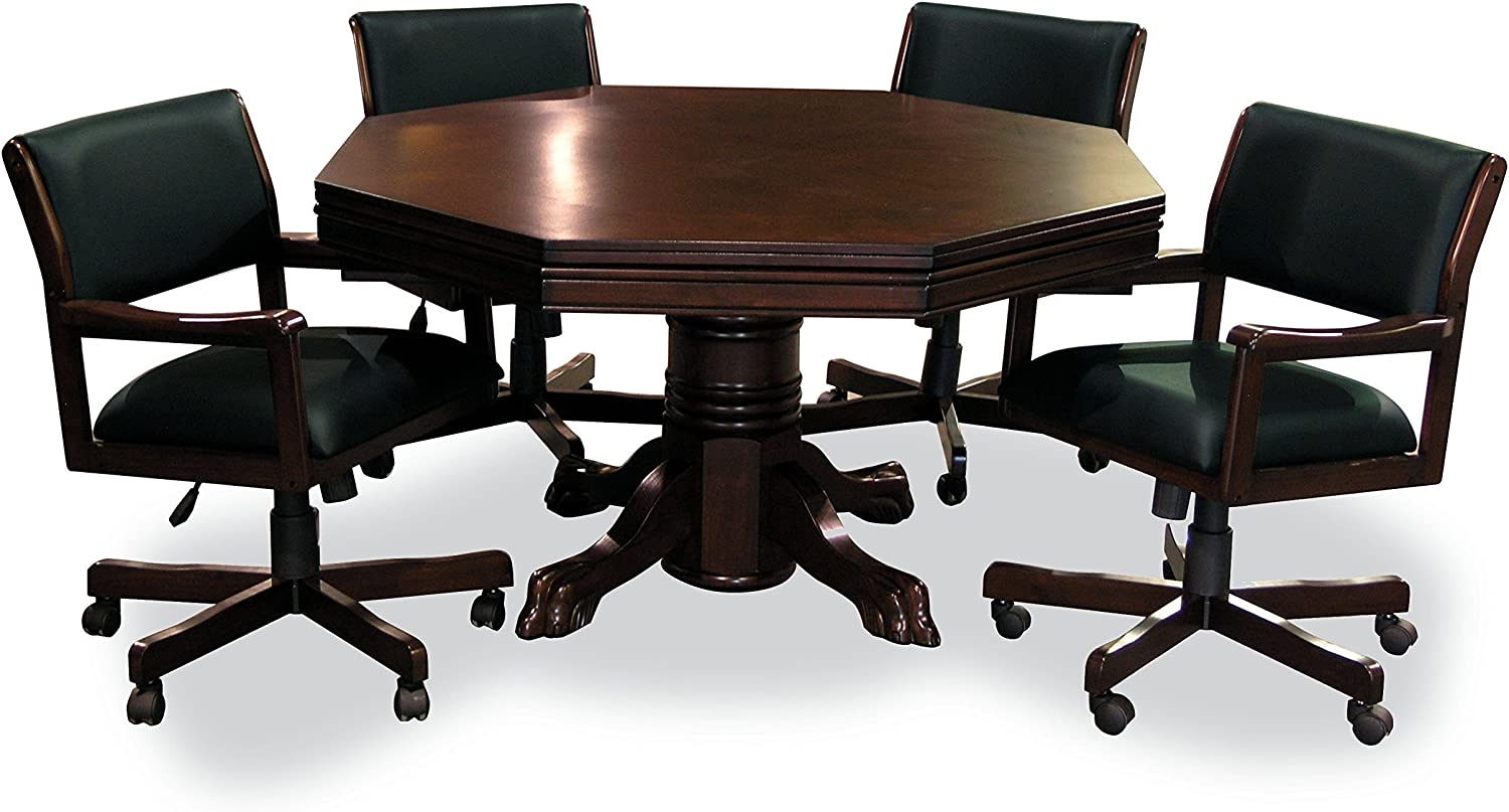 Chestnut Finish 54 3-in-1 Combination Game /& Dining Table Set with 4 Rocker-Swivel Chairs