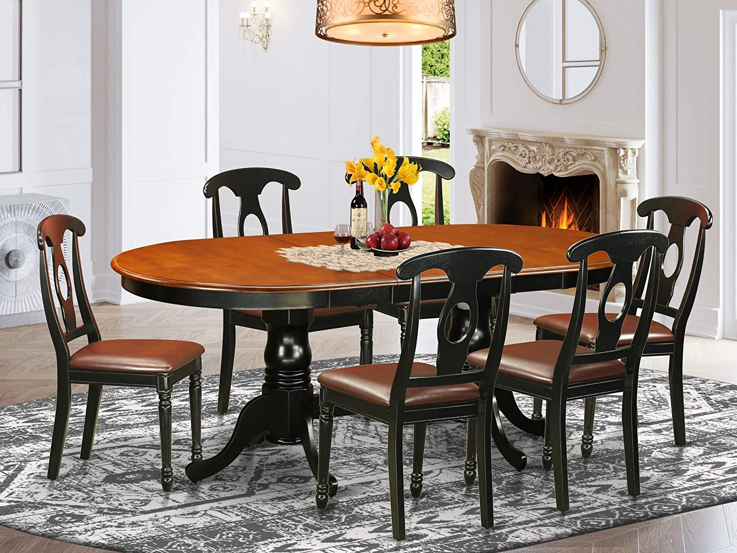 Amazon Com 7 Pc Dining Room Set Dining Table With 6 Wooden Dining Chairs Table Chair Sets