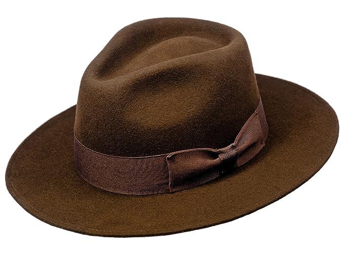 ce6ef36e9 Sterkowski Sheep Wool Felt Classic Fedora Hat UK 7 Brown: Amazon.co ...