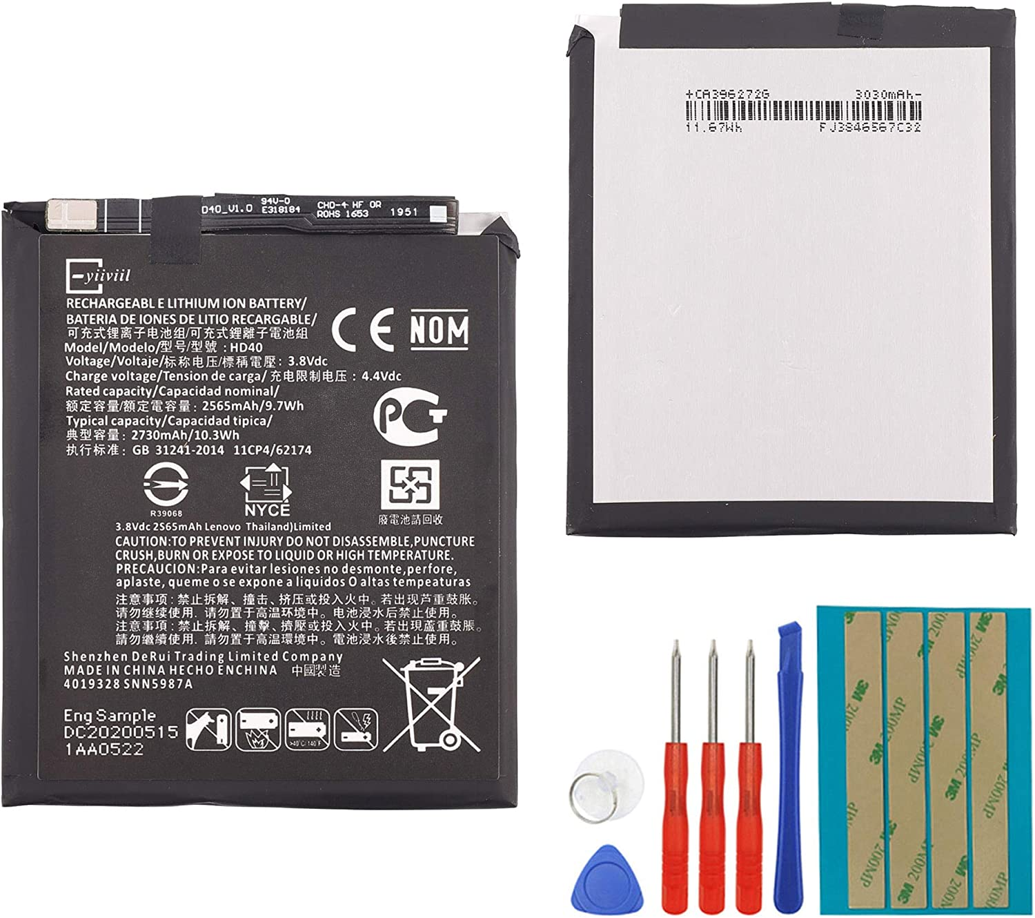 New Replacement Battery HD40 Compatible with Motorola Moto Z40 Force XT40  40565mAh 40.40V with Tools
