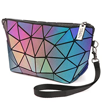 Tikea Cosmetic Bag - Small Makeup Pouch Geometric Luminous Foldable Clutch Fashion Toiletry Beauty Bag Travel Cosmetic Wristlets, Holographic and Reflective