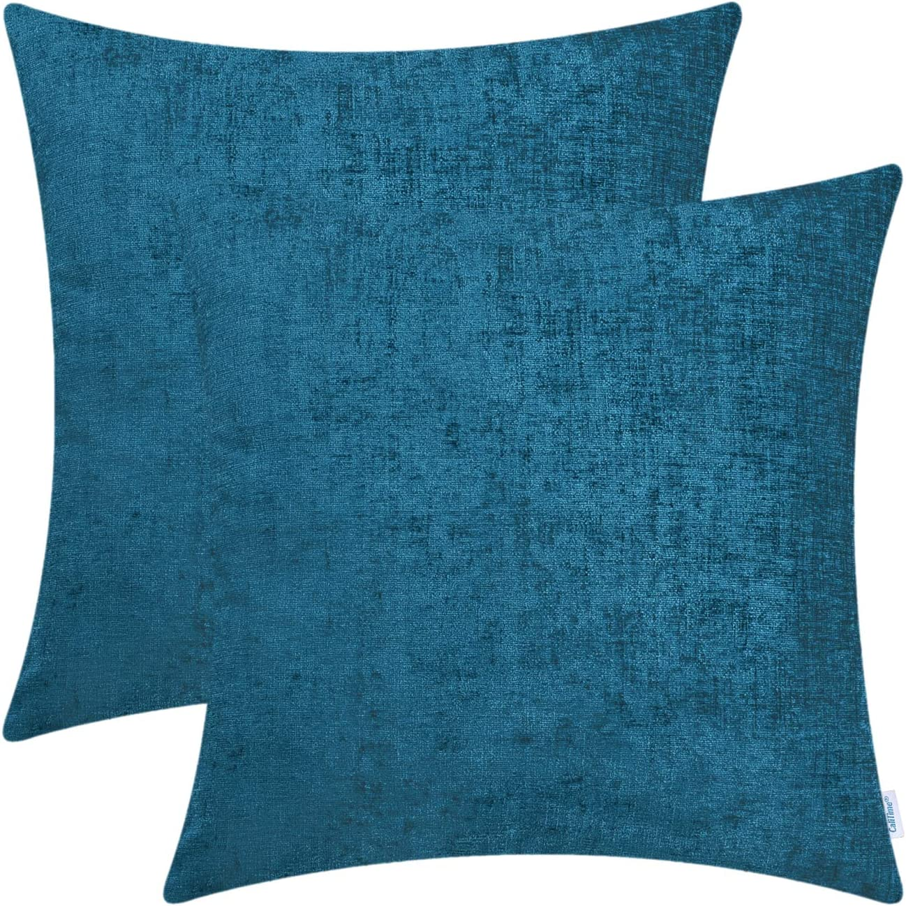CaliTime Pack of 2 Cozy Throw Pillow Covers Cases for Couch Sofa Home Decoration Solid Dyed Soft Chenille 20 X 20 Inches Ocean Blue